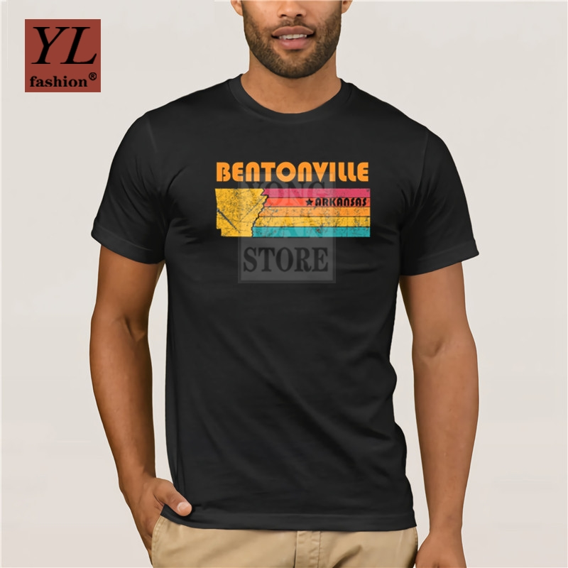 Summer fashion printed men's T-shirt 100% cotton Bentonville <font><b>Arkansas</b></font> Vintage Distressed Souvenir Men's Sportswear T-shirts image