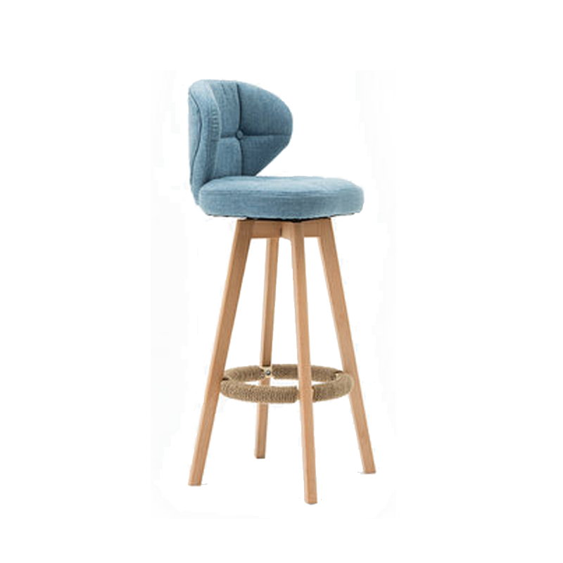 Nordic Rotating Bar Chair Stool Retro  Real Wood  Backrest Contracted The