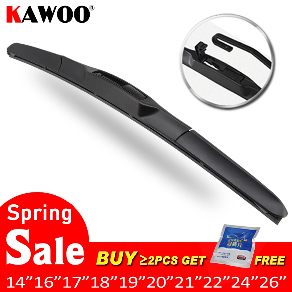 Car Wiper Blade Universal U Hook Type 14''16''17''18''19''20''21''22''24''26'' Windscreen Windshield Rubber Hybrid Auto Wipers Accessories