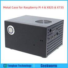 Raspberry Pi X825 SSD & HDD SATA Ban Kết Hợp Kim Loại + Công Tắc + Tặng Quạt Mát, tổ Ong Khung Xe Cho X825 Raspberry Pi 4 Mẫu B X735