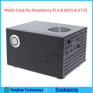 Image 1 - Raspberry Pi X825 SSD&HDD SATA Board Matching Metal Case+Switch+Cool Fan, Honeycomb chassis for X825 Raspberry Pi 4 Model B X735