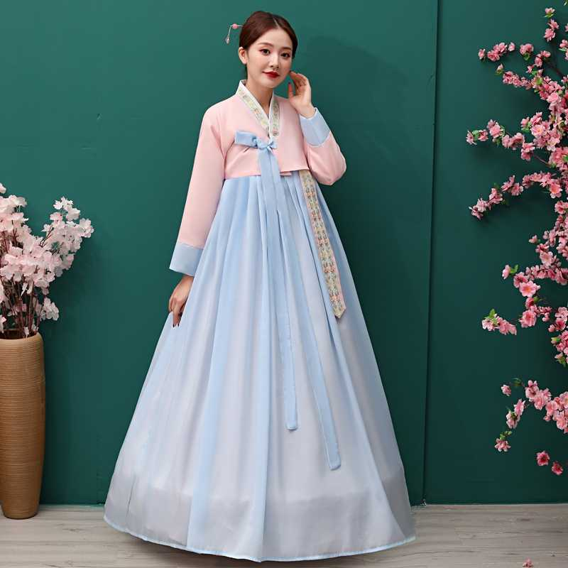 Traditional Korean Hanbok Dress Ancient Princess Dance Costume Women Ethnic Korean Folk Stage Dance Costume Wedding Party Cloth