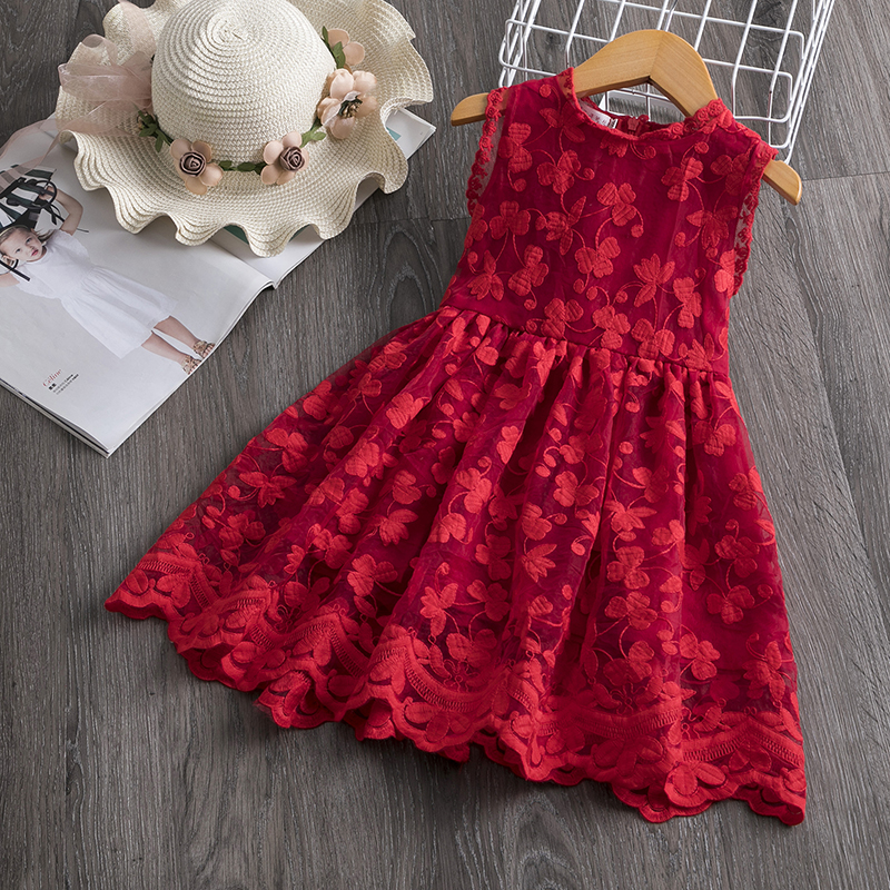 Flower Girl Dress Casual Lace Embroidery Princess Baby Girl Clothes Summer Sleeveless Dress Kids Clothes Dresses Holiday Dress
