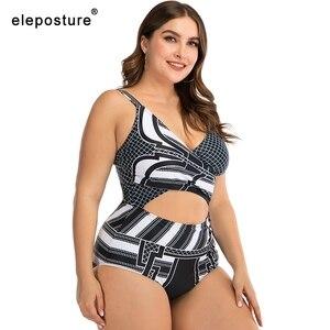 Image 3 - 2020 SEXY PLUS ขนาดผู้หญิงชุดว่ายน้ำ One Piece ชุดว่ายน้ำหญิง Hollow OUT ชุดว่ายน้ำชายหาดฤดูร้อนสวมขนาดใหญ่ว่ายน้ำชุด