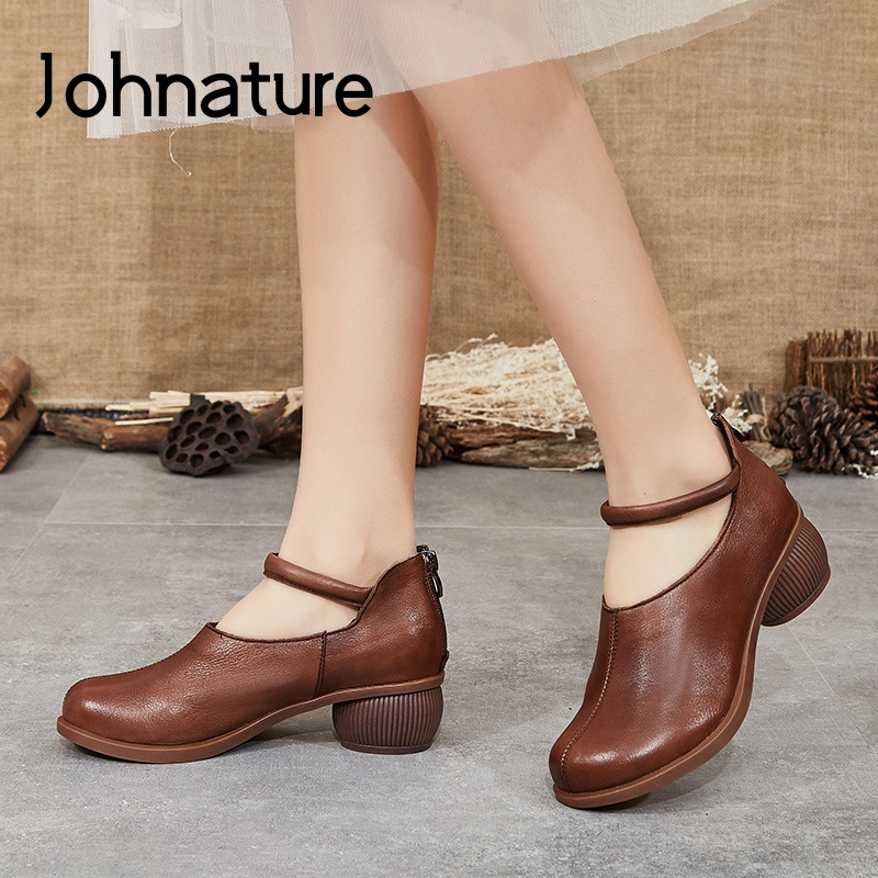 Johnature Pumps Women Shoes Retro 2020 New Spring Genuine Leather Zip Round Toe High Heels Sewing Casual Concise Ladies Shoes