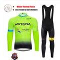 ASTANA inverno 9D equipamentos 2019 CAMISA de Ciclismo preto ciclismo calças estabelecidos para Homens Térmica de lã Roupas de Ciclismo