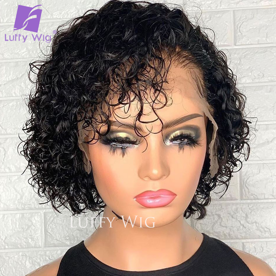 Short Pixie Curly Wigs 4x4 Lace Closure Wig   13x4 Lace Frontal  Wigs Glueless  LUFFY 2