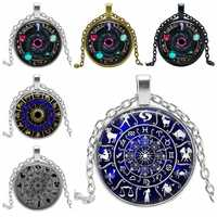 2019 Año nuevo regalo colgante de Wicca collar del zodiaco Wicca pagano joyería de cristal joyería de cadena de suéter
