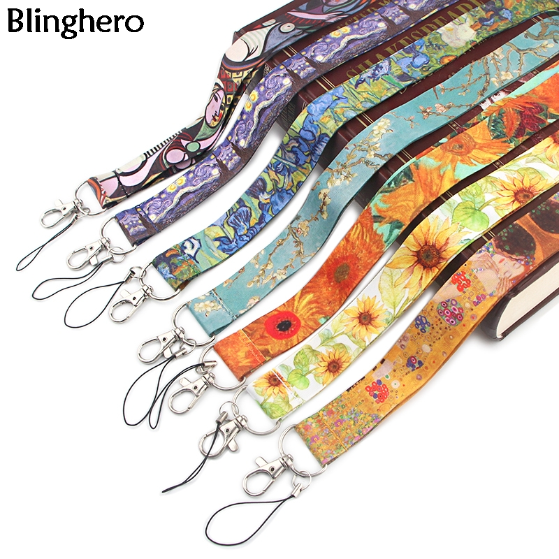 Blinghero Art Series Van Gogh Lanyard For Keys Phone Cool Neck Strap Monet Lanyard For Camera Whistle ID Badge Cute Gifts BH0423