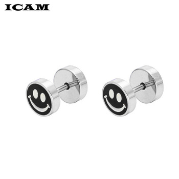 ICAM 1Pair Surgical Steel Earrings Dumbbell Tunnel Plug Earrings Set For Women Hip Hop Rock Tide.jpg 350x350 - ICAM 1Pair Surgical Steel Earrings Dumbbell Tunnel Plug Earrings Set For Women Hip Hop Rock Tide Screw Earrings Men