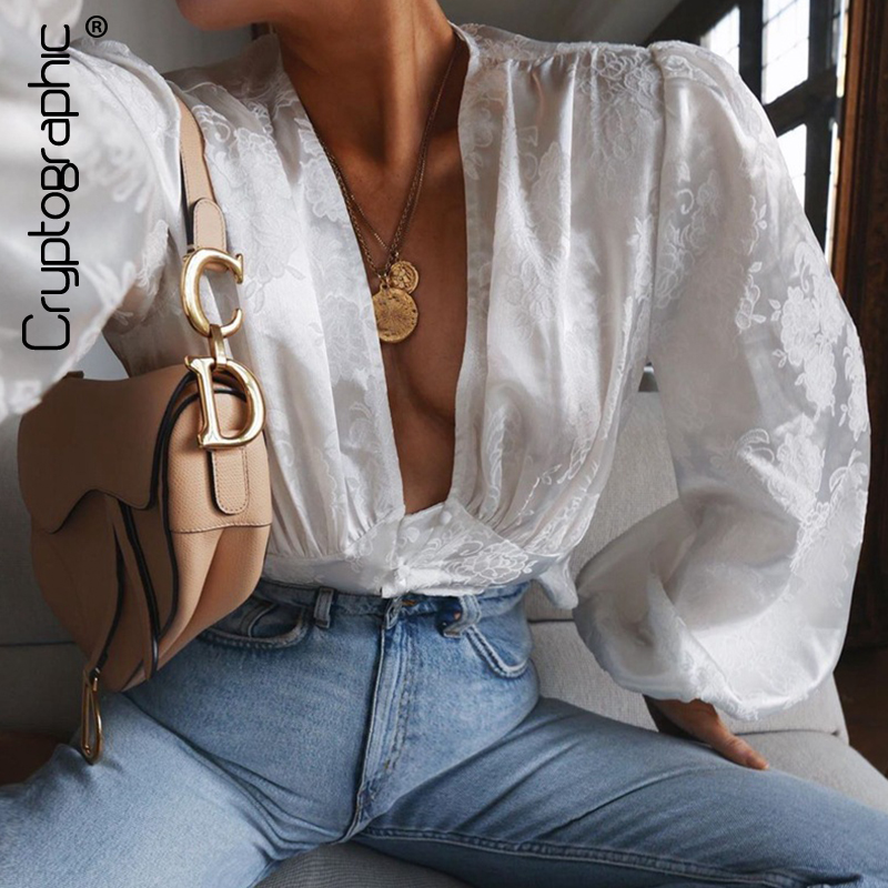 Cryptographic Sexy Deep V-Neck Womens Tops And Blouses Buttons Lantern Sleeve White Shirt Female Tops Blouse Fashion Streetwear
