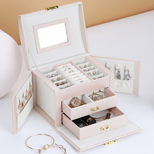 High Quality 3 Layers  Simple Leather Storage Jewelry Box Creative Portable Silk Earrings Ring