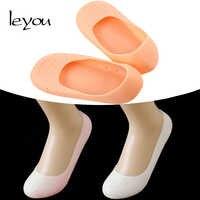 Leyou 1 par unisex silicone hidratante meias gel calcanhar meias rachado pé cuidados com a pele meias não deslizamento insert pads