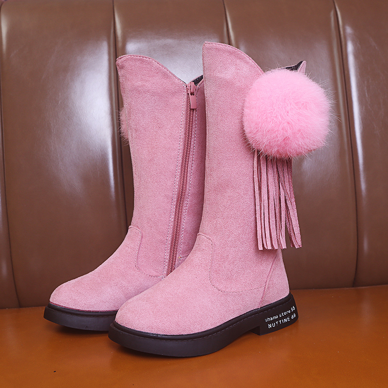 Pink Winter Fashion Rubber Boots For Girls Tassels Long Kids Boots Children Knee-high Warm Cotton Soft Back-tied 27-37