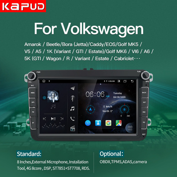 Kapud 8''Android 10 Car Autoradio Multimedia Player For Volkswagen Radio Skoda Seat Octavia Golf Touran Passat Polo B6 LADA GPS image