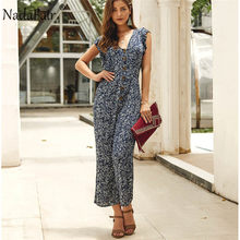 Nadafair Floral Jumpsuit Rompers ผู้หญิงสูง(China)
