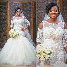 цена на Fashion Scoop Neck 3/4 Sleeve Mermaid Wedding Dresses Appliques Lace up Back Tulle Satin Bridal Dresses Wedding Gowns Vestido