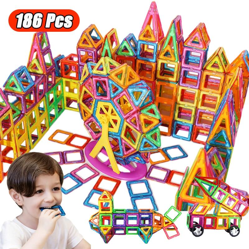 Магнитный конструктор большого размера, магнитные строительные блоки, аксессуары, обучающий конструктор, игрушки для детей