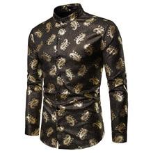 Рубашка-смокинг с принтом пейсли больших и высоких размеров, осенняя уличная одежда с длинным рукавом и стоячим воротником, Золотая рубашка с цветочным принтом для мужчин, праздничная одежда XXL