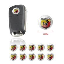 14mm alualuemblemas chave do carro emblema logotipo adesivos para abarth 500 124 para fiat punto ducato palio bravo acessórios do carro-estilo