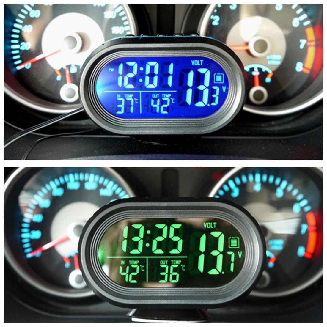 Reloj electrónico para coche, reloj electrónico, reloj luminoso para coche, accesorios electrónicos para coche, termómetro de 12 v, alarma automática