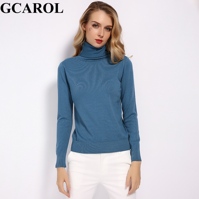 GCAROL 2019 New Women 30% Wool Turtleneck Sweater Fall Winter Jumper Render Knit Basic Pullover Solid Color OL Lady Knitted Tops(China)