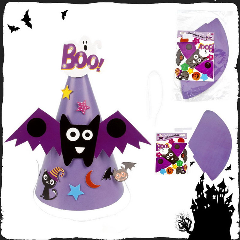 Halloween Kids Boys Girls Costume Paper Hat Pumpkin Face Wizard Witch Masquerade Party Decoration Cartoon Cap Hat For Kids