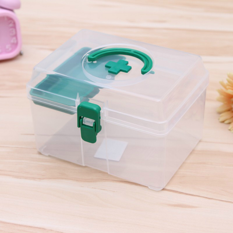 Small Household Medicine Box Transparent First Aid Box Children's Hand Small Medical Kit Color Random