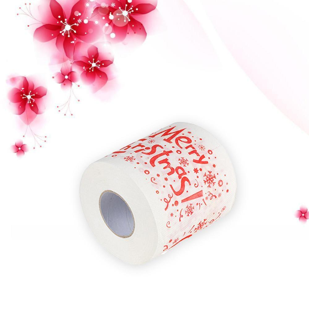 1Roll Santa Claus/Deer Merry Christmas Supplies Printed Toilet Paper Bath Room Toilet Paper Tissue Roll Xmas Presents Decor