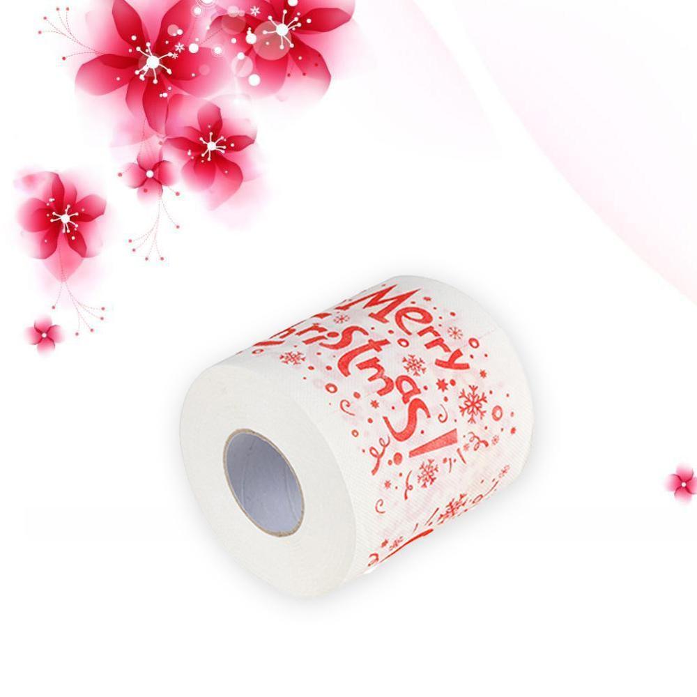 1Roll Santa Claus/Deer Merry Christmas Supplies Printed Toilet Paper Bath Room Toilet Paper Tissue Roll Xmas Presents Decor