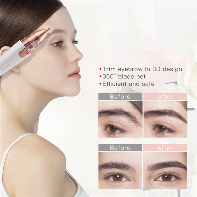 eyebrow trimmer pen 2 In 1 Facial Hair Remover Women depilator Makeup Painless Eye Brow Epilator Mini Shaver  USB charging SU313 4