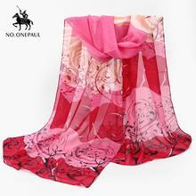 Женский шифоновый шарф noonepaul разноцветный длинный с цветочным