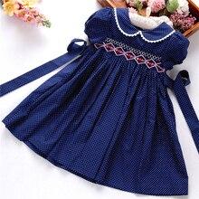 Рождественская Одежда для девочек, детские платья, бутики ручной работы в горошек с длинным рукавом и цветочным принтом, праздник на День Благодарения 3166535