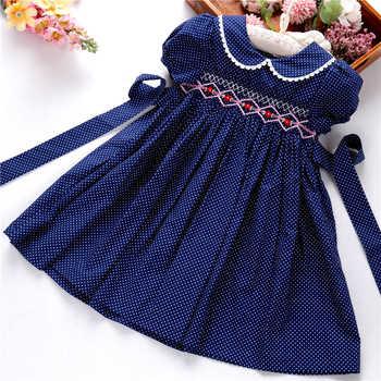 Ragazze di natale abiti per bambini abiti smocked fatti a mano dot navy floreale a maniche lunghe boutique del fiore di festa del ringraziamento 3166535