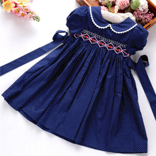 girls christmas outfits kids dresses smocked handmade dot navy floral long sleeve boutiques flower holiday thanksgiving 3166535