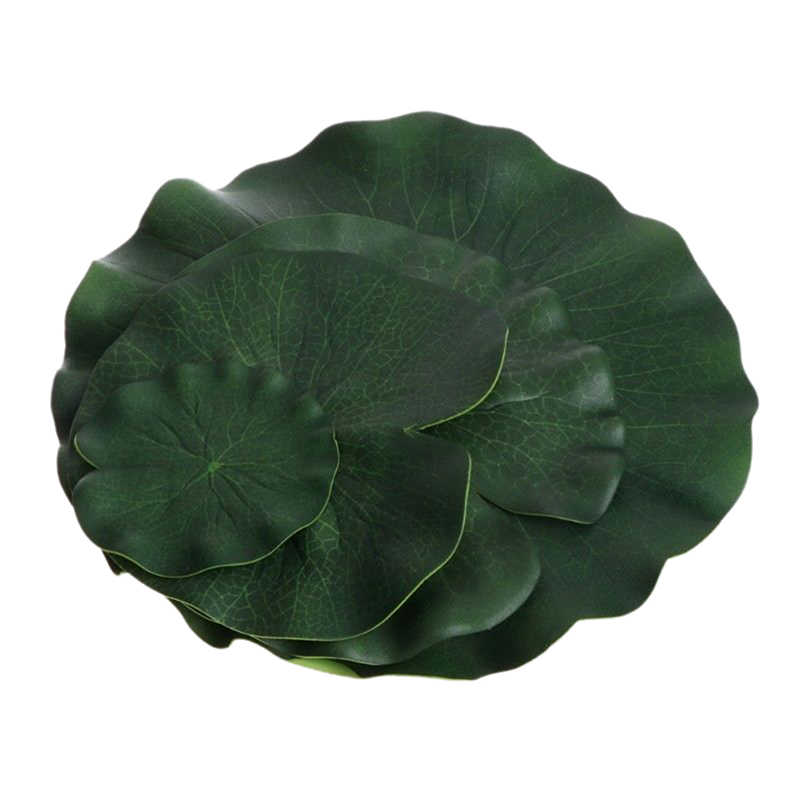 5PCS ประดิษฐ์ Lotus Water Lily ลอยดอกไม้ถัง Plant Leaf เครื่องประดับ 10cm บ้านสวนสระว่ายน้ำตกแต่ง
