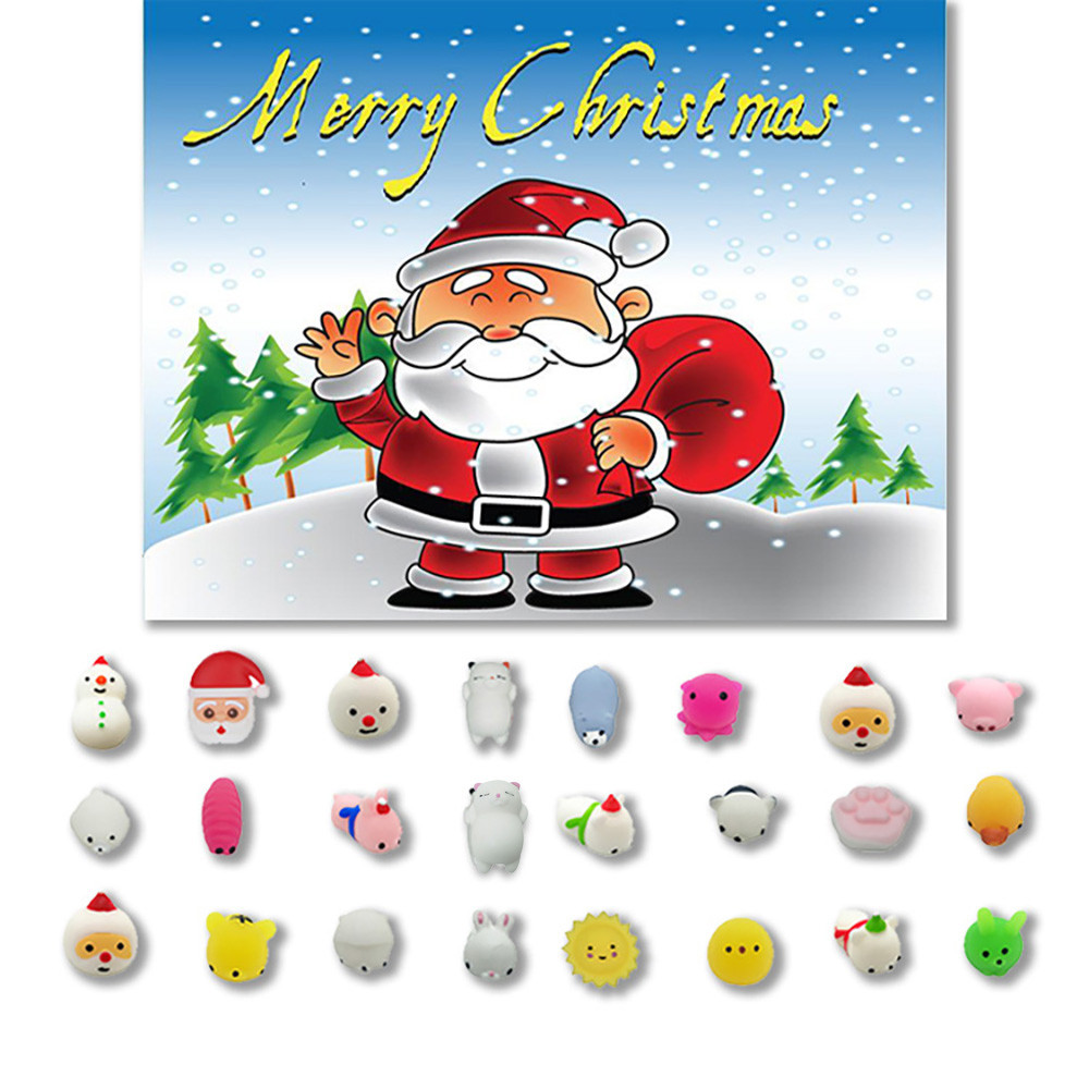 MUQGEW 24PC Christmas Toys Set DIY Decor Mini Cute Squeeze Funny Toy Gift Soft Stress Relief Toy Gifts WY8