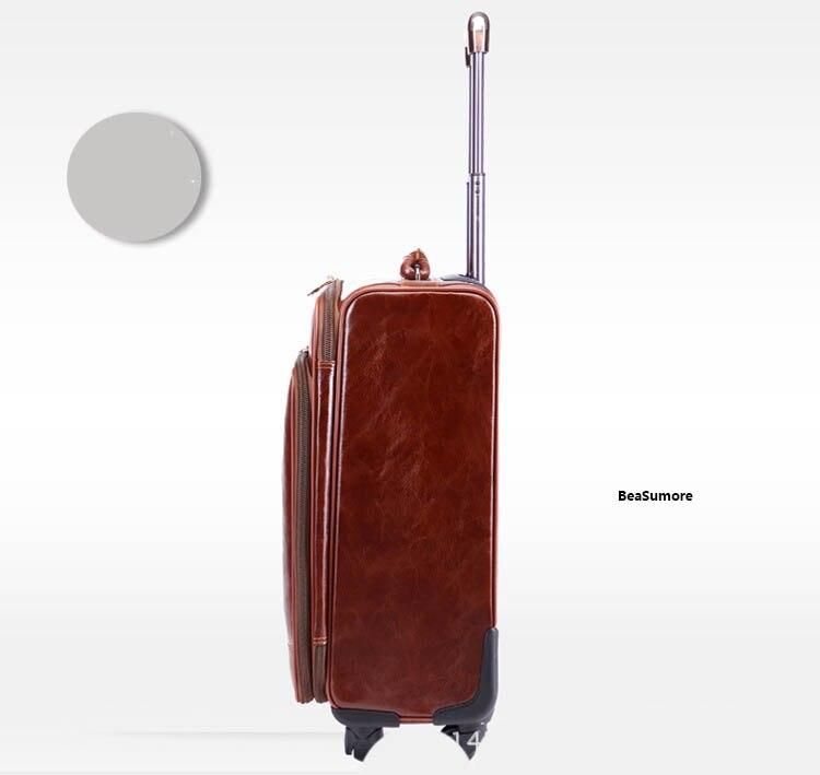 BeaSumore мужские чемоданы на колесиках из искусственной кожи, 24 дюйма, ретро-колесо, чемоданы, 16/20 дюймов, тележка, пароль, дорожная сумка