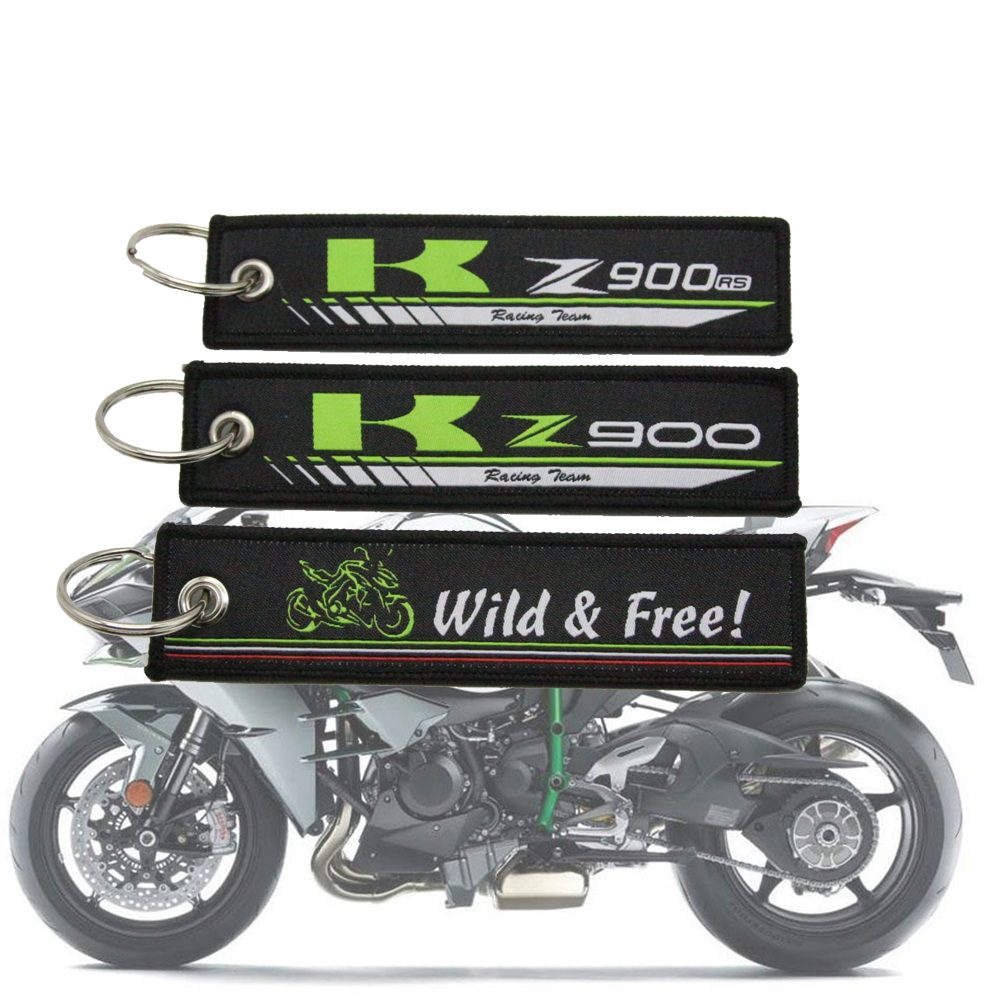 <font><b>Z900</b></font> <font><b>RS</b></font> Embroidery Key Holder Chain Collection Keychain for <font><b>Kawasaki</b></font> <font><b>Z900</b></font> <font><b>Z900RS</b></font> Motorcycle Embroidered Badge Keyring image