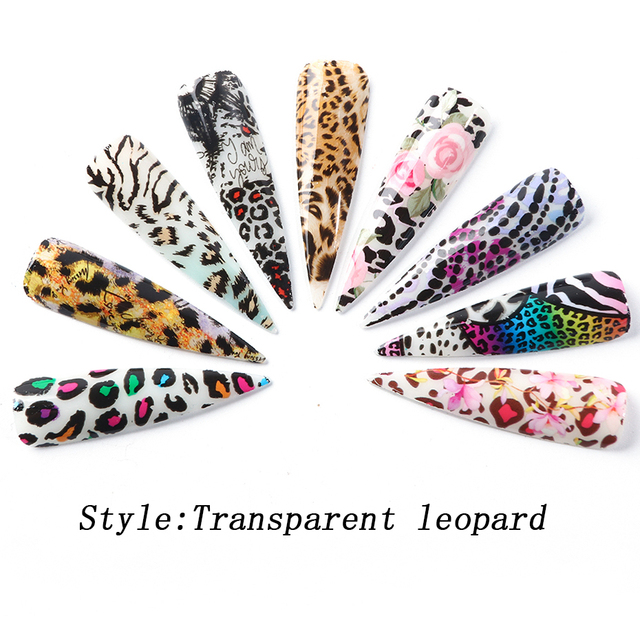 10pcs Mix Print Transparent Leopard Nail Foil Transfer Adhesive Slider Tattoo Nail Art Stickers For Nails Manicure Tip CH2001-1