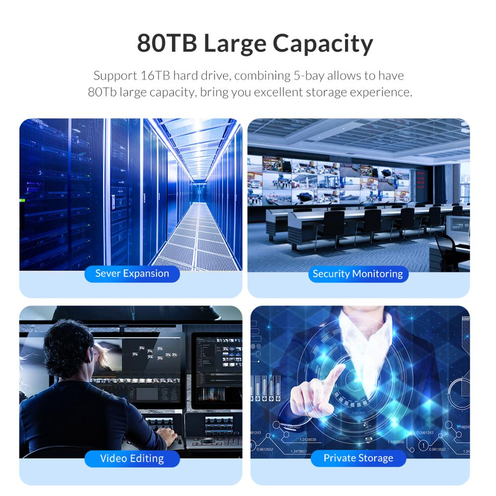 Image 5 - ORICO 80TB 5 Bay Enterprise stacja dokująca HDD z podwójny układ scalony 150W wbudowany futerał na dysk twardy Power dla 2.5 3.5 Cal dyski twardeObudowa dysku twardego   -