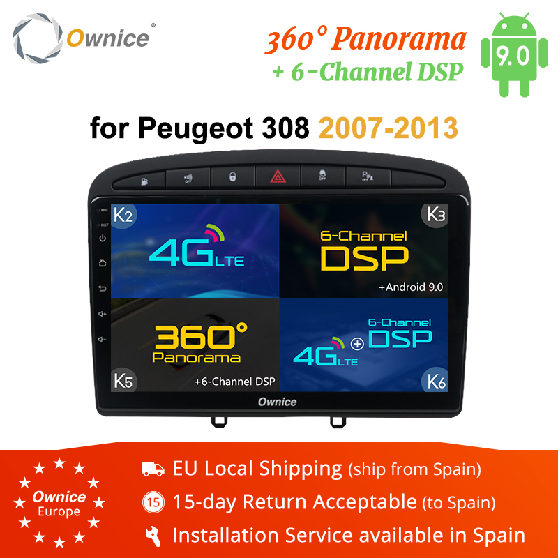 Ownice 2 din Car dvd Player Android 9.0 Autoradio Player for <font><b>PEUGEOT</b></font> <font><b>308</b></font> 408 2008 2009 2010 2011 k3 k5 k6 <font><b>GPS</b></font> Navigation 4G LTE image