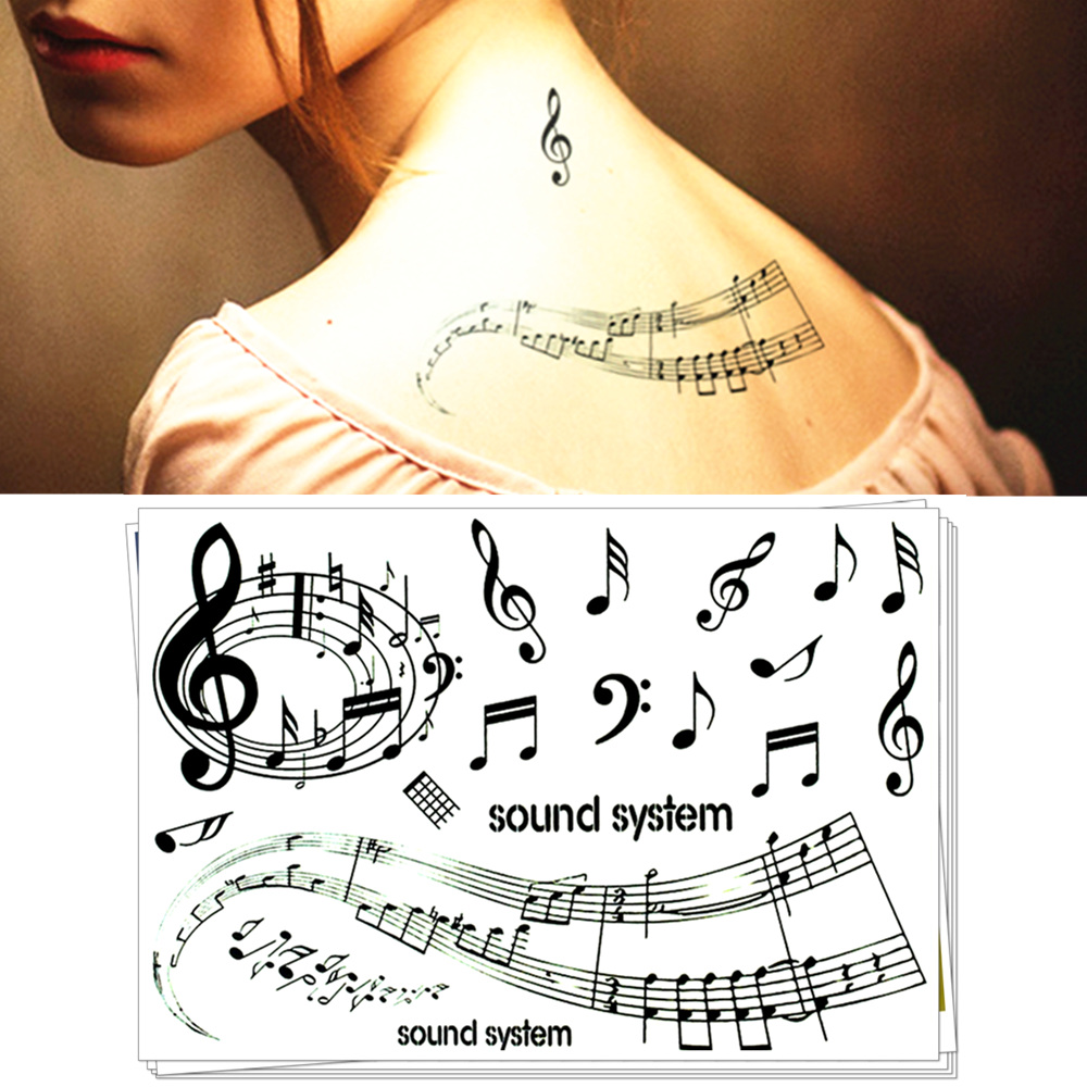 Waterproof Temporary Tattoo Sticker Music Musical Note Feather Totem For Girl Women Tatto Stickers Flash Tatoo Fake Tattoos 7