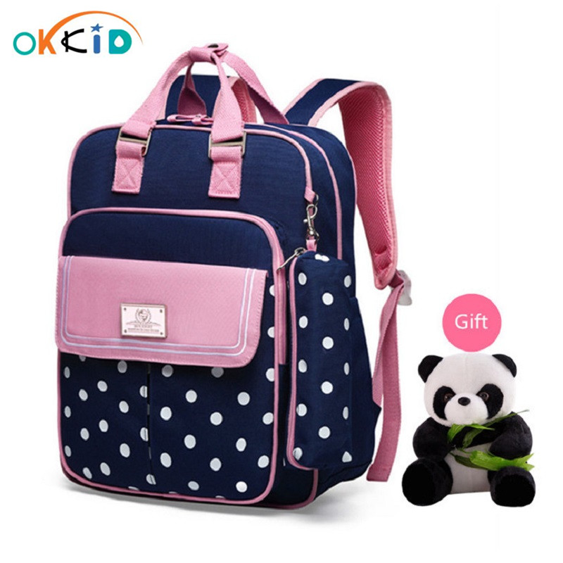 OKKID Girls School Bags Children's Backpack Kids Cute Pink Backpack Polka Dot  Schoolbag Girl Book Bag New Year Gifts For Girls