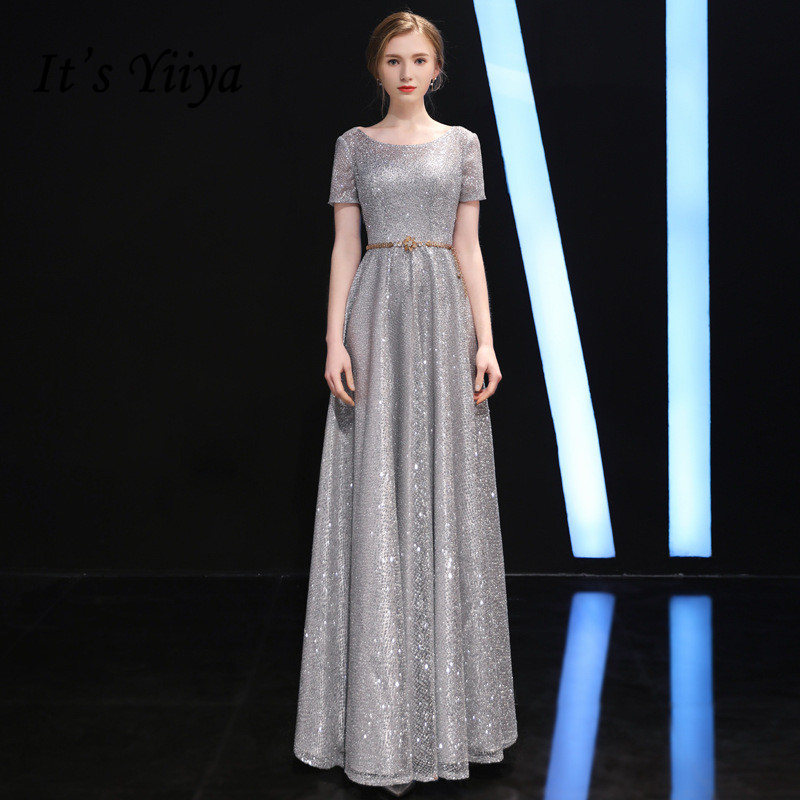 It's Yiiya Long Evening Dresses Silver Gray Sparkle A Line Short Sleeve Party Dress Eleant Long O-neck Formal Gown Vestidos K216