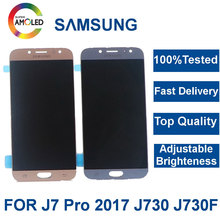 Super Amoled J7 LCD For SAMSUNG Galaxy J7 Pro 2017 J730 J730F J730FD Display Touch Screen Digitizer Assembly Brightness Control все цены
