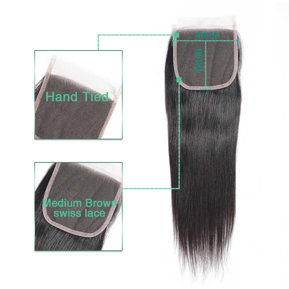 Liddy Braziliaanse Haar Staright Golf 4 Bundels Met Sluiting 100% Human Hair Bundels Met Sluiting Niet Remy Hair Extensions