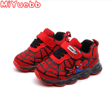 2020 Led luminous Spiderman Kids Shoes for boys girls Light Children Luminous baby Sneakers mesh sport Boy Girl Led Light Shoes led luminous graffiti athletic shoes