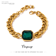 Yhpup Green Crystal Stainless Steel Gold Bracelets Bangle for Women Hip Hop Thick Chain18 K Plated Punk Fashion Bracelets New
