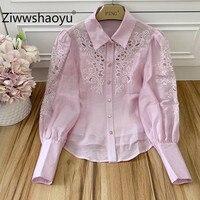 Ziwwshaoyu 2020 Summer Designer Women's Shirt Hollow Out Embroidery Long Sleeve Casual Fine Top Blouse Pink Women